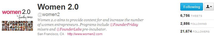 Women 2.0 on Twitter @Women2