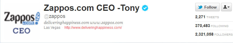 Tony Hsieh on Twitter @zappos