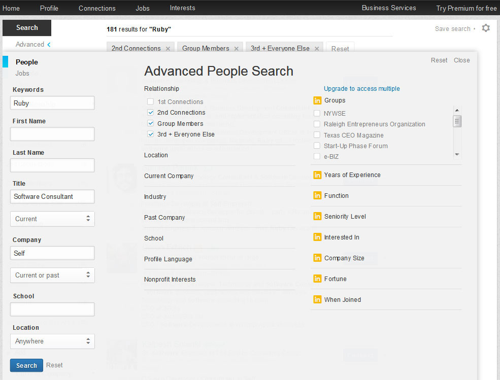 LinkedIn-Advanced-Search Example