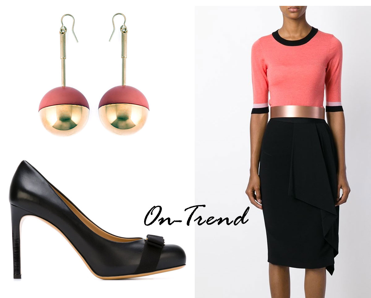 Photo:  Marni round pendant earrings, Salvatore Ferragamo 'Pimpa' pumps, Roksanda Top; Source: Farfetch