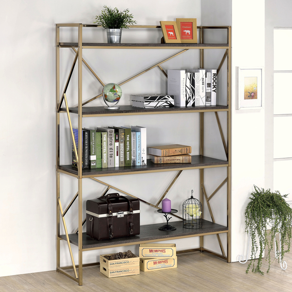 Photo: Furniture of America Nara Contemporary 4-Shelf Open Bookshelf; Source: Overstock