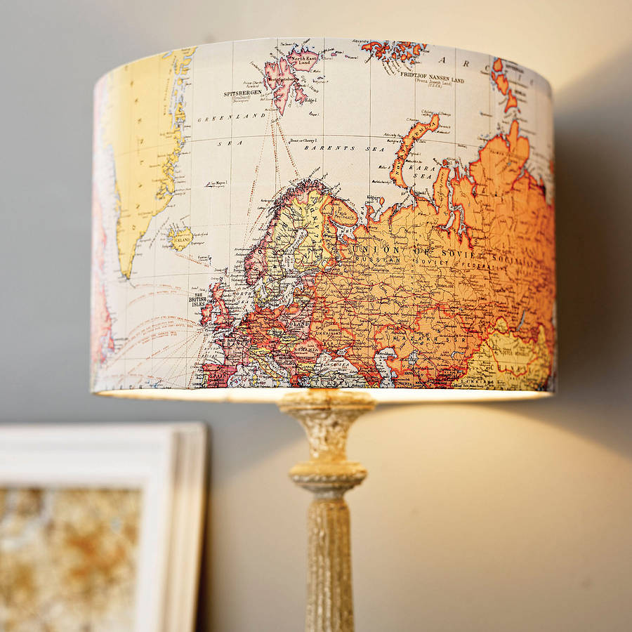 Photo: Handmade Vintage Map Lampshade by Rosie's Vintage Lampshades; Source: Notonthehighstreet.com