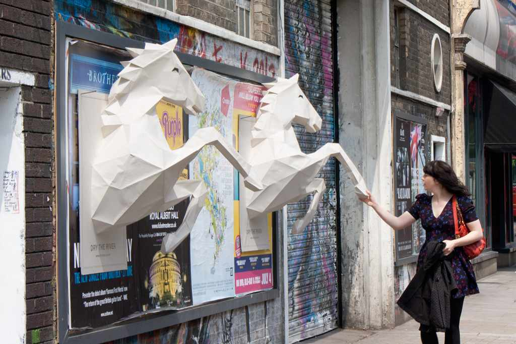 Photo: Dry the River - No Rest: 3D paper-crafted horses; Source: adsoftheworld.com