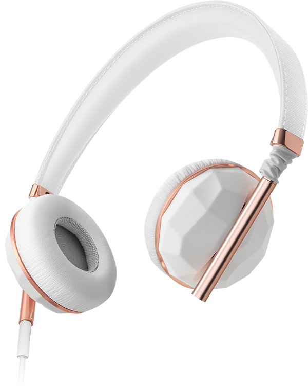Photo: Linea Nº1 Faceted Ceramic & Rose Gold Headphones; Source: Caeden.com