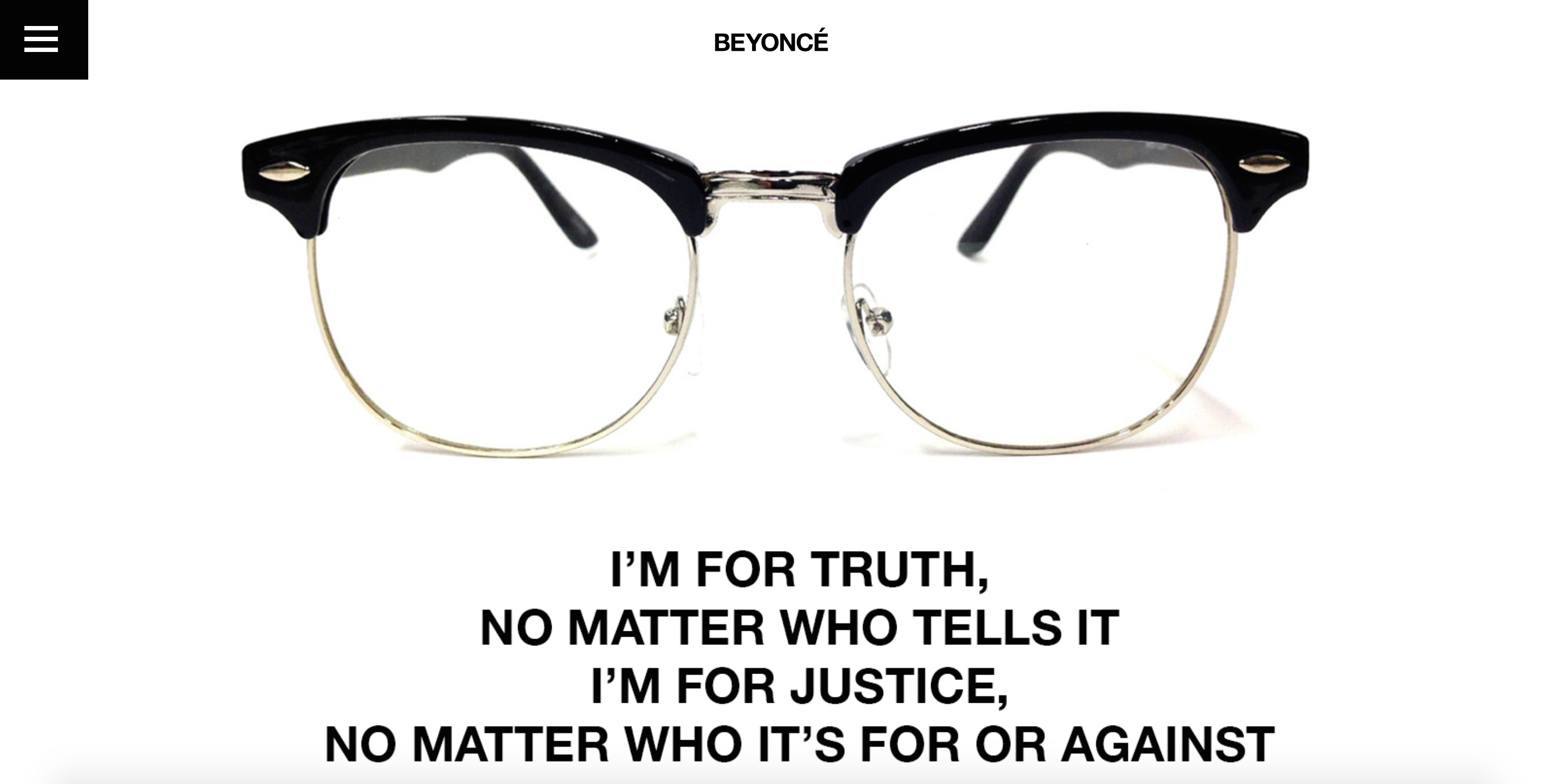 Source: Beyonce.com (Quote by Malcom X)