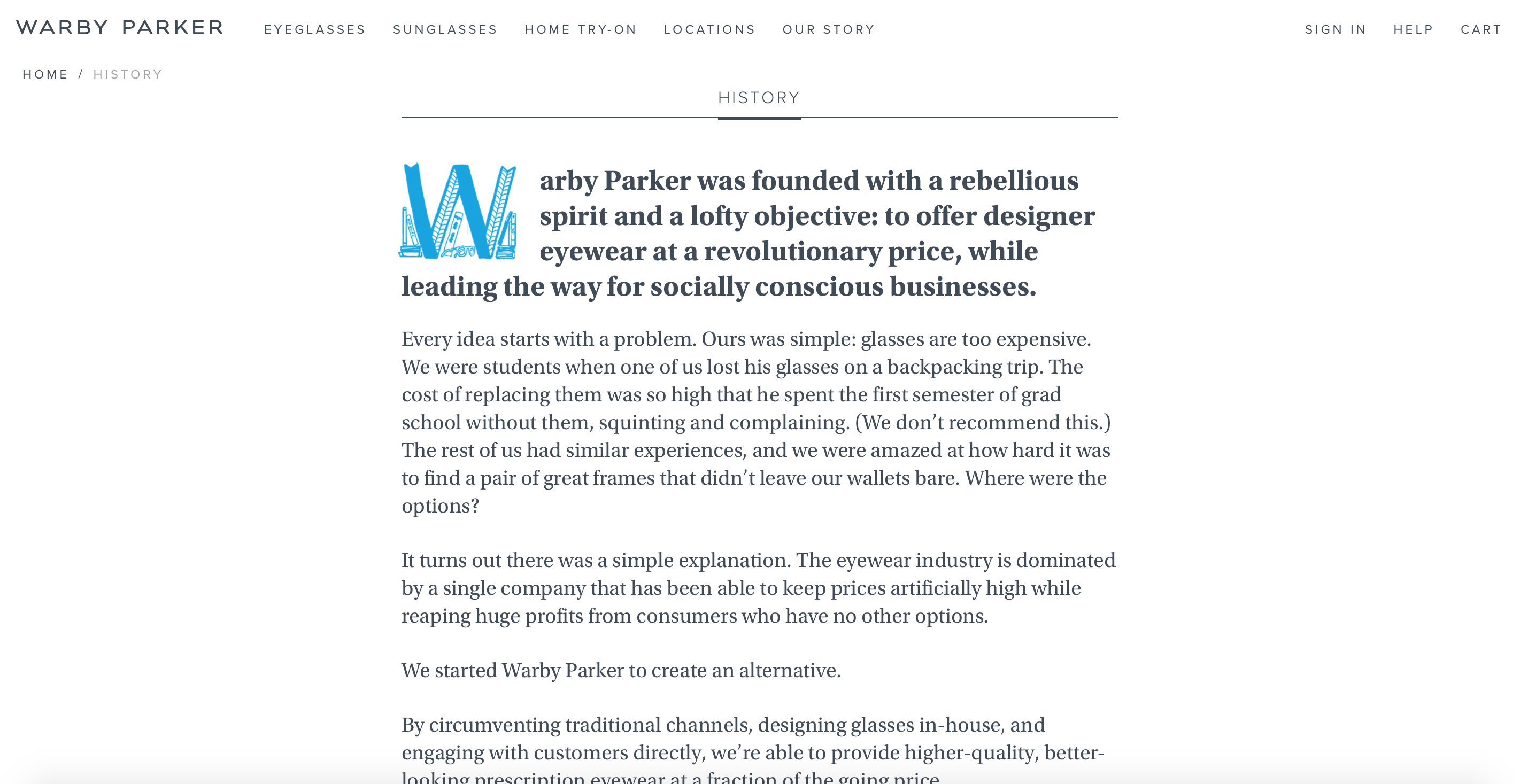 Source: warbyparker.com/history