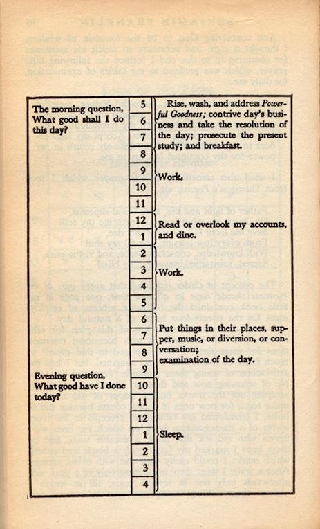 Photo: Benjamin Franklin's schedule