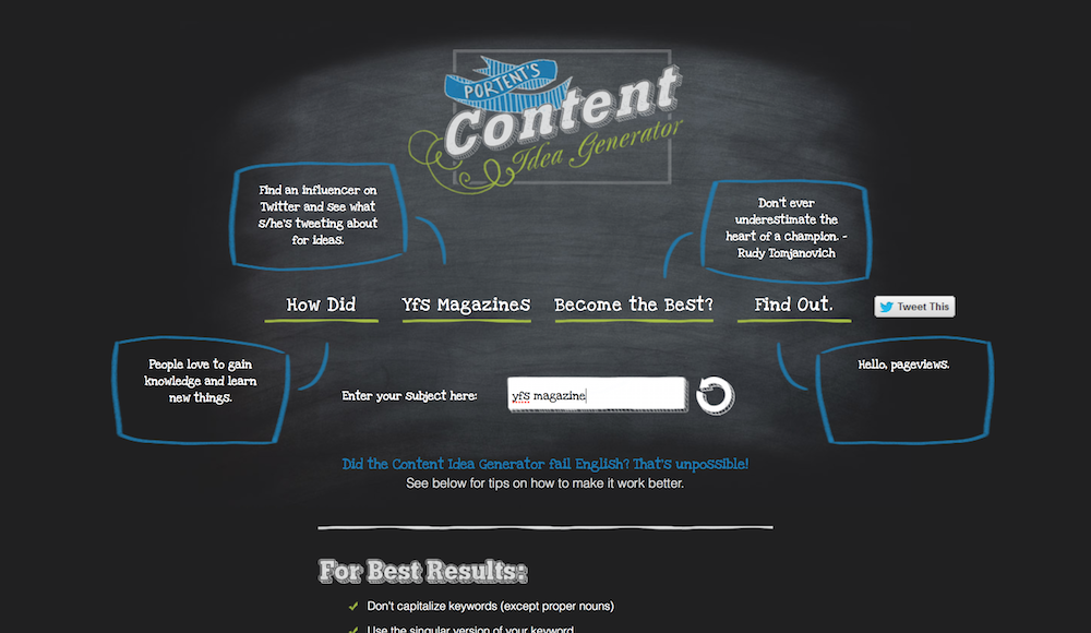 8 powerful online tools for digital marketers yfs magazine for Portent idea generator